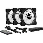 комплект вентилатори AeroCool 3-in-1 3x120mm - Saturn 12F ARGB Pro - Addressable RGB with Hub, Remote