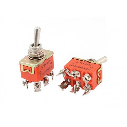 E-TEN1321 AC 250V 15A DPDT ON-OFF 2 Position M12 Latching Toggle Switch
