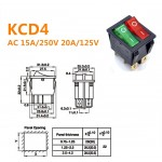 KCD4 AC 250V 16A Red Green